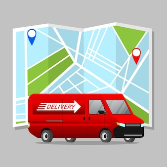 Logistieke auto met stadskaart achtergrond