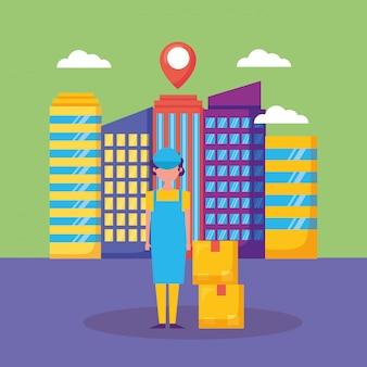Logistieke bezorgservice met stadsgezicht en koerier