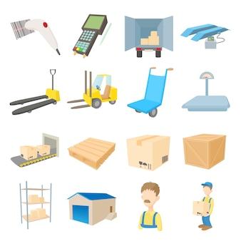 Logistieke de opslagpictogrammen van het pakhuis die in de vector van de beeldverhaalstijl worden geplaatst