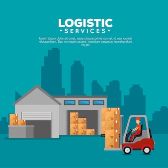 Logistieke diensten met vorkheftruck en werknemer