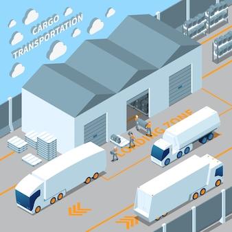 Logistieke elektrische voertuigen isometrische samenstelling