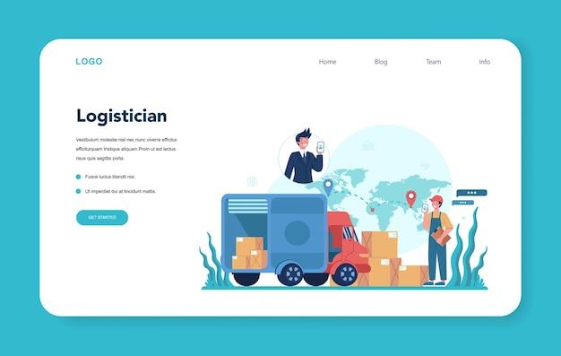 Logistieke en bezorgservice webbanner of bestemmingspagina