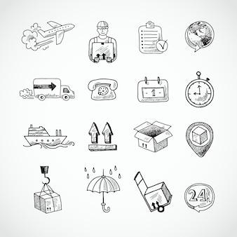 Logistieke hand getekende pictogrammen set