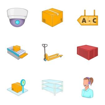 Logistieke iconen set, cartoon stijl