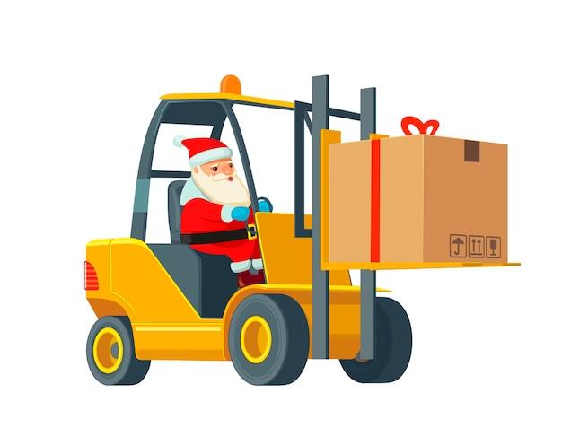 Logistieke kerstman met een cadeau. vorkheftruck draagt een doos. flat banner productieproces in magazijn. vector illustratie voor zaken, info afbeelding, web, presentaties, reclame.