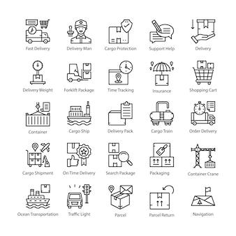 Logistieke levering lijn vector icons pack
