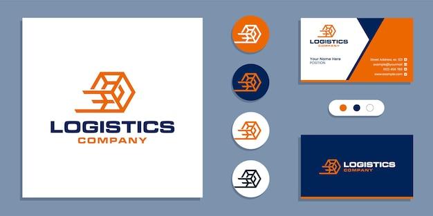 Logistieke levering, logo voor snelle verzending en ontwerpsjabloon voor visitekaartjes