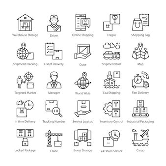 Logistieke levering vector icons pack