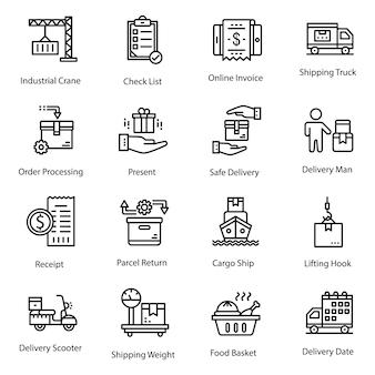 Logistieke lijnpictogrammen
