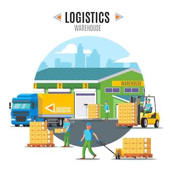 Logistieke magazijn illustratie