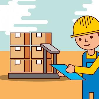 Logistieke man met kartonnen dozen in schaal