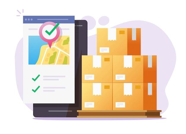 Logistieke vracht mobiele koerier online voor vrachtbezorgservice transport via smartphone telefoon