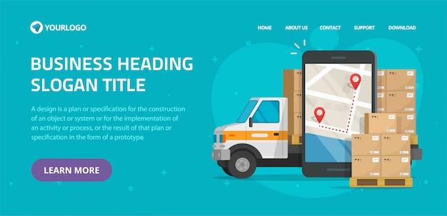 Logistieke vracht mobiele koerier online website sjabloon mockup ontwerp voor vracht levering en transport