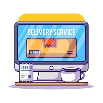 Logistieke vrachtvrachtkoerier online op computer cartoon afbeelding