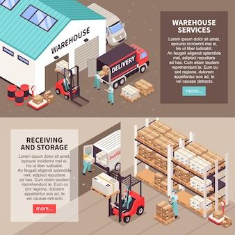 Logistieke webbannersjabloon met magazijndiensten die isometrische illustratie ontvangen en opslaan