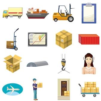 Logistiekpictogrammen in beeldverhaalstijl die worden geplaatst