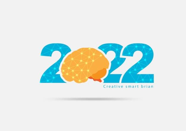 Logo 2022 nieuwjaar met creatief concept van het menselijk brein, vectorillustratie moderne lay-outsjabloon