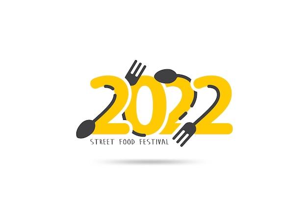 Logo 2022 nieuwjaar street food festival creatief ontwerp, vectorillustratie moderne lay-outsjabloon