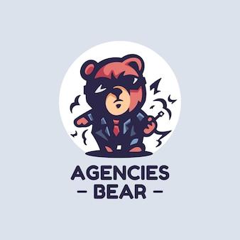 Logo afbeelding agentschappen dragen eenvoudige mascotte stijl.