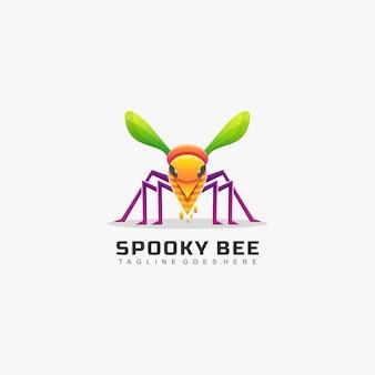 Logo afbeelding bee kleurovergang kleurrijke stijl.