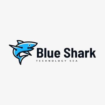 Logo afbeelding blauwe haai eenvoudige mascotte stijl.