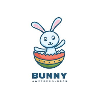 Logo afbeelding bunny eenvoudige mascotte stijl.