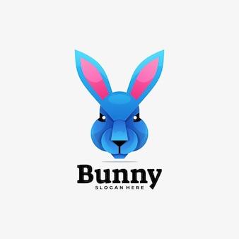 Logo afbeelding bunny kleurovergang kleurrijke stijl.