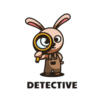 Logo afbeelding detective mascotte cartoon stijl.