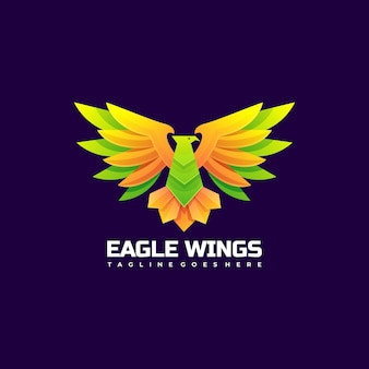 Logo afbeelding eagle vleugels kleurovergang kleurrijke stijl.