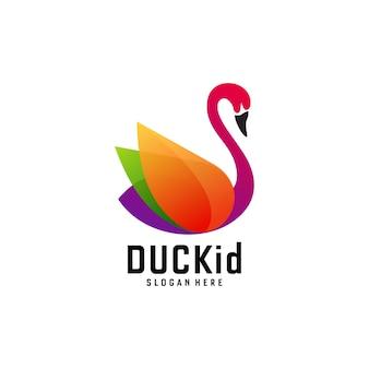 Logo afbeelding eend gradiënt kleurrijke stijl