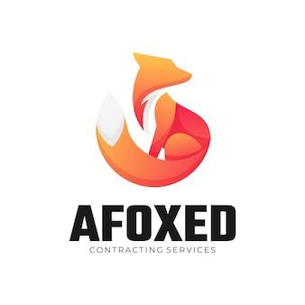 Logo afbeelding fox kleurovergang kleurrijke stijl.