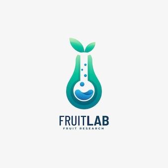Logo afbeelding fruit lab kleurovergang kleurrijke stijl.