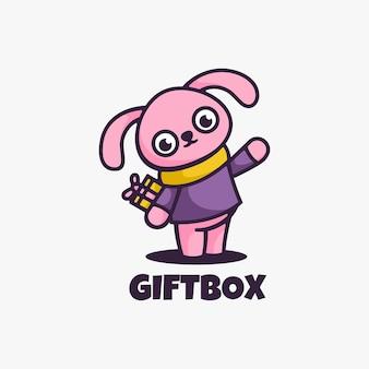Logo afbeelding geschenkdoos mascotte cartoon stijl.