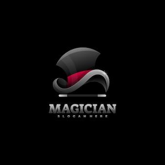 Logo afbeelding goochelaar kleurovergang kleurrijke stijl.