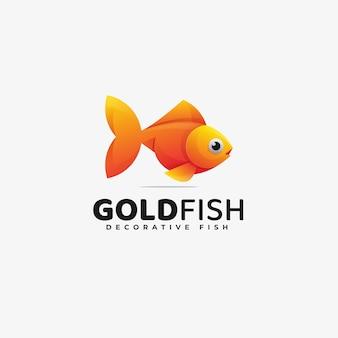 Logo afbeelding gouden vis kleurovergang kleurrijke stijl.