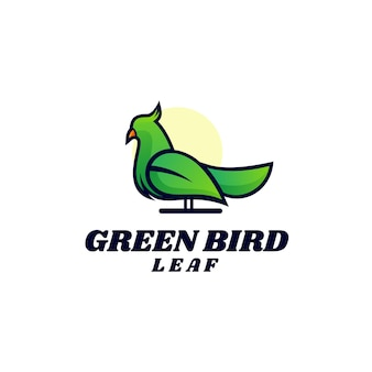 Logo afbeelding groene vogel eenvoudige mascotte stijl