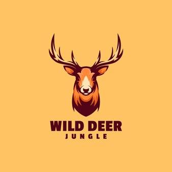 Logo afbeelding herten eenvoudige mascotte stijl.
