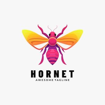 Logo afbeelding hornet kleurovergang kleurrijke stijl.