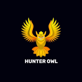 Logo afbeelding hunter owl kleurovergang kleurrijke stijl.