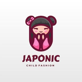 Logo afbeelding japan girl cartoon schattig stijl.