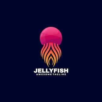 Logo afbeelding jelly fish kleurovergang kleurrijke stijl.