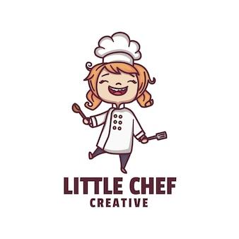 Logo afbeelding kleine chef-kok mascotte cartoon stijl.