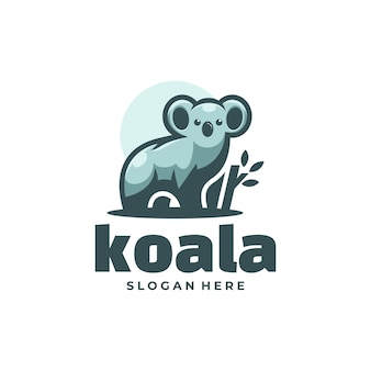Logo afbeelding koala eenvoudige mascotte stijl.