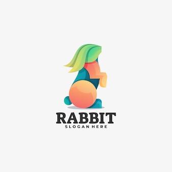 Logo afbeelding konijn kleurovergang kleurrijke stijl.