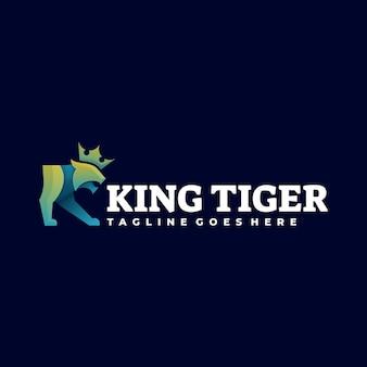 Logo afbeelding koning tijger kleurovergang kleurrijke stijl.