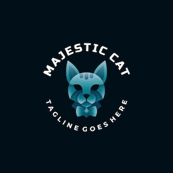 Logo afbeelding majesteit kat kleurovergang kleurrijke stijl.