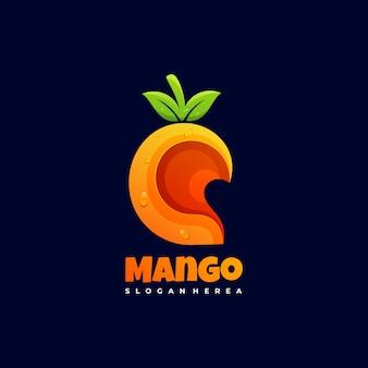Logo afbeelding mango kleurovergang kleurrijke stijl.