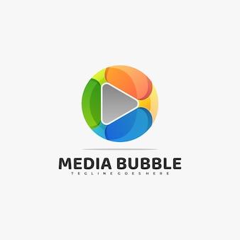Logo afbeelding media kleurverloop kleurrijke stijl.