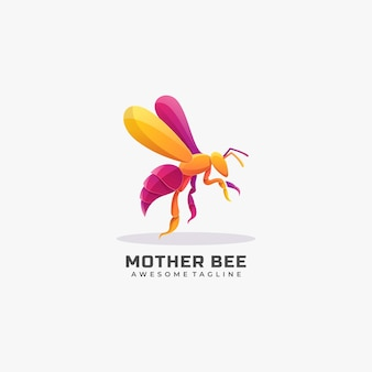 Logo afbeelding moeder bee kleurrijke kleurovergang.