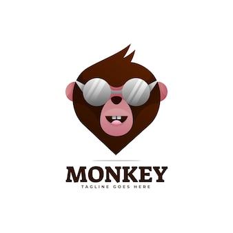 Logo afbeelding monkey kleurovergang kleurrijke stijl.